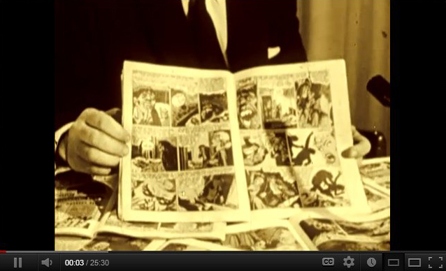 """Opening appeal of a report on the content of comic books in the early 1950s, by Paul Coates - first aired 57 years ago this week. Many of the comics he refers to were in fact used as evidence in the 1954 U.S. Senate Subcommittee hearings on juvenile delinquency--which were televised, and very high-profile. Many of this comics were thereafter censored, and the """"Comics Code Authority"""" was born."""