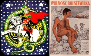 "The cover of 'TROTSKY (The Graphic Biography)' took inspiration from these political cartoons of the time. On the left, Viktor Deni, an author working for the Russian Soviet Federative Socialist Republic (RSFSR) in 1918, depicts Trotsky as St. George, slaying the dragon of ""counterrevolution"". On the right, Polish government anti-communist poster to counter Bolshevik propaganda from Russia during the Polish-Russian war 1920, showing People's Commissar for the Army Lev Davidovich Bronstein (Leon Trotsky). Large caption reads: ""Bolshevik freedom."""