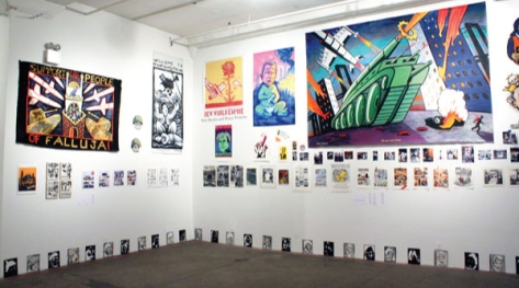 Collection of artwork on display at Exit Art in New York City - 2014.