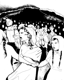 Miners' wives formed a front-line human shield ahead of the strikers. Linking arms, they refused to allow the company men to re-open the mines that had been closed for months.
