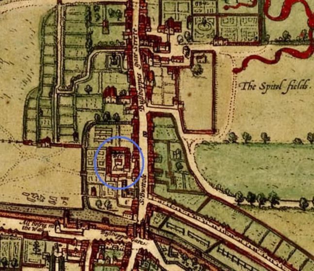 """Confinement, historically: Pictured here from the larger french atlas, Civitatis Orbis Terrarum, Bedlam, circled in blue, was a holding facility for those deemed mentally ill or otherwise unfit for 16th century civilization. According to a writing in 1591, """"Bedlam was an oubliette in all but name--a place for forgetting, where the insane were locked up with those interred by their own families on some trumped-up charge simply to be rid of them."""""""